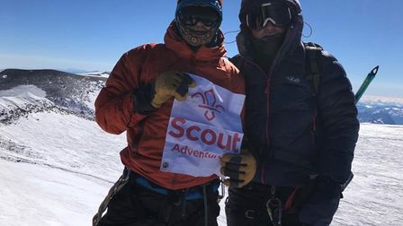 Paul (left) and Jack (right) reach the summit of Europe's highest mountain Picture: PAUL ETHERIDGE