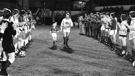 Kevin Beattie given a guard of honour for his Testimonial match at Portman Road in 1982