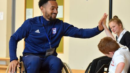 Ipswich Town player Jordan Roberts visits the children of the Thomas Wolsey School as part of the Su