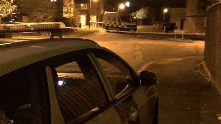 Police remain at the scene of the stabbing Picture: ARCHANT