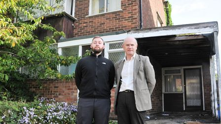 Neil MacDonald (right) with Private Sector Housing Officer Danny Newman at a house in Upton Close wh