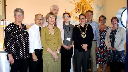 Mayor Jane Riley and councillor Collette Allen with members of the Suffolk Taoist Tai Chi Society, c
