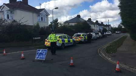 Police responding to an emergency call in Goring Road, Ipswich Picture: DOMINIC MOFFITT