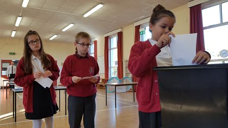 Youngsters queuing up to have their vote counted Picture: RACHEL EDGE