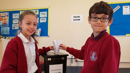 Youngsters enjoy casting their vote at Heath Primary School Picture: RACHEL EDGE