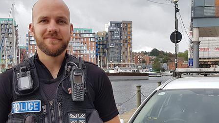 PC Jon Harvey awarded for rescuing woman from the water in Ipswich's waterfront. Picture: Rachel