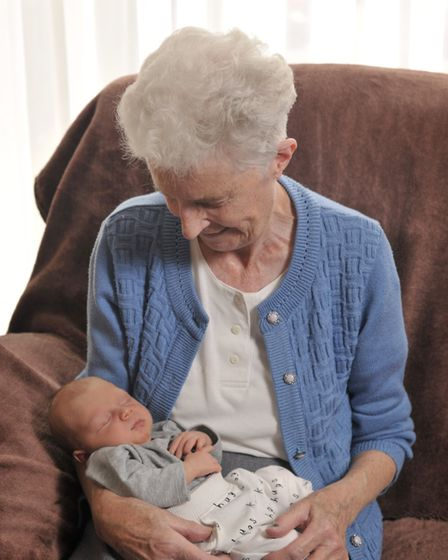 May Mason with her great great grandson Ezra Andrew Picture: SARAH LUCY BROWN