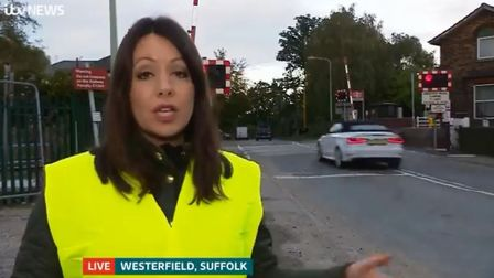 Tanya Mercer was reporting live from Westerfield railway station on ITV Anglia when a car jumped the