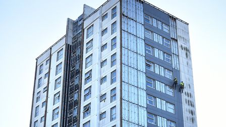 Cladding is being removed from St Francis Tower in Ipswich Picture: SARAH LUCY BROWN