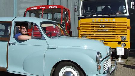 Owen Philips from the museum in a Morris Minor Traveller. Picture; IPSWICH TRANSPORT MUSEUM