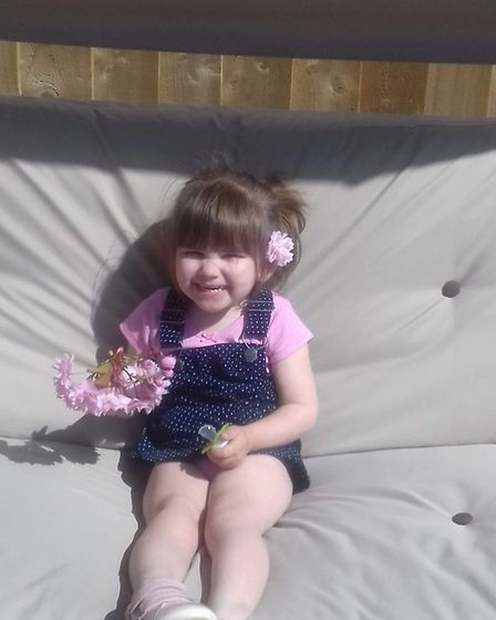 Ava-May Littleboy, three, died after being thrown from an inflatable trampoline Picture: SUPPLIED B