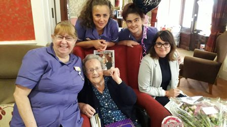 Marjorie Theobald celebrates her 100th birthday at Felixstowe Picture: HEALTHCARE HOMES