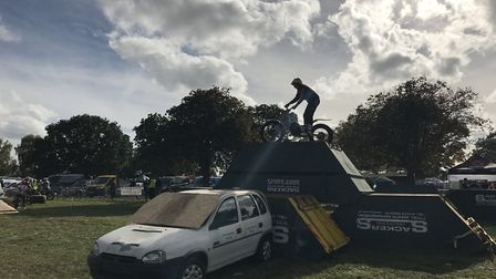 Stunts performed at Copdock Motorcycle Show in Trinity Park, Ipswich. Picture: Victoria Pertusa