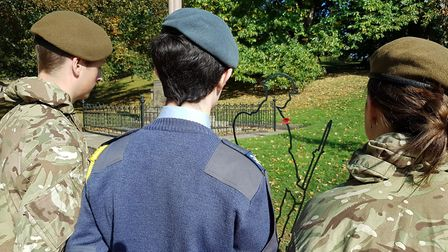 The young cadets take a moment to remember fallen heroes. Picture: Neil Didsbury