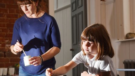 Jessica McFarlane with her daughter Sylvi, creating crafts for the SPILL Festival that will be on di