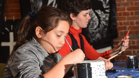 Youngsters having fun creating crafts for the SPILL Festival that will be on display during the Pyre