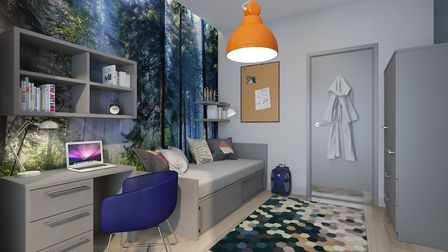 A single boarding room that student will have the opportunity to stay in. Picture: ENVOPLAN
