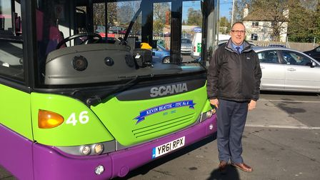 Justin Wythe with the new bus named after Kevin Beattie. Picture: PAUL GEATER
