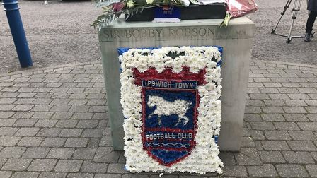 One of many floral tributes to Kevin Beattie outside Portman Road. Picture: SOPHIE BARNETT