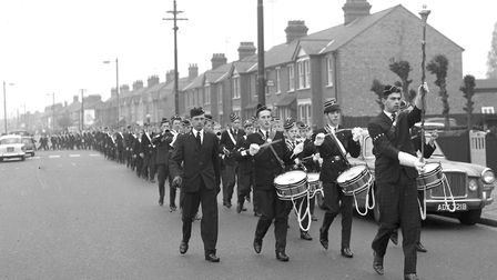 A Boys Brigade Band marching along Nacton Road, Ipswich, on a Sunday morning in October 1964 Pictu