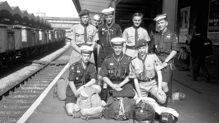 This group of Suffolk scouts were setting off from Ipswich Station to the World Jamboree in July 196
