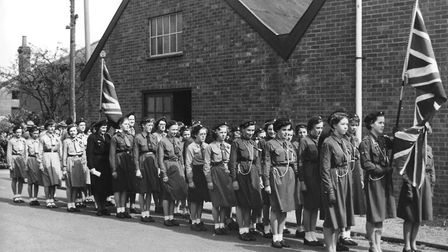 Stowmarket Girl Guides taking part in the St Georges Day Parade at Stowmarket in the 1950s Pictur