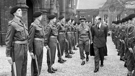 The Duke of Edinburgh inspecting members of the Ipswich School combined cadet force during at visit