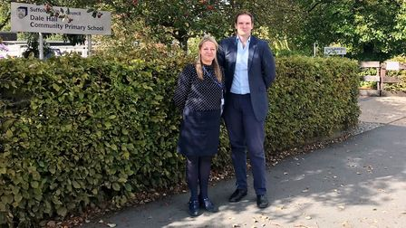 Dale Hall Primary headteacher Jo Dedicoat with Dr Dan Poulter outside the school. Picture: Office of