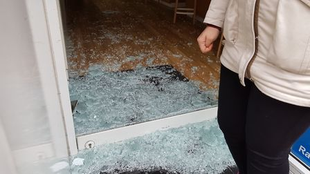 The glass from the front door was smashed to gain entry. Picture: Rachel Edge