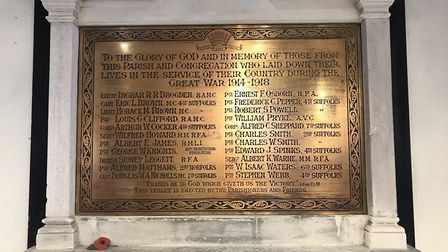 A team of volunteers have researched the history of the 22 names on the war memorial. Their stories
