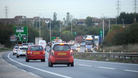 A car and a lorry were involved in a crash on the A12 near Copdock. Picture: PHIL MORLEY