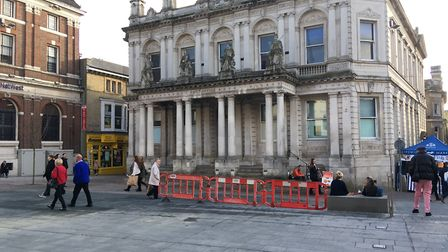 Barriers have been put up outside the old post office Picture: SUZANNE DAY