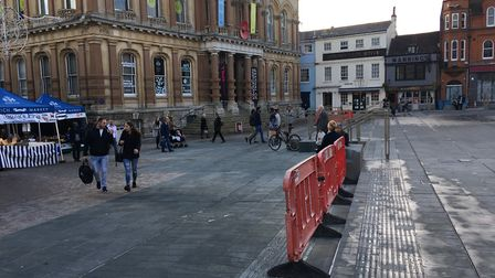 The new step on Ipswich Cornhill Picture: SUZANNE DAY