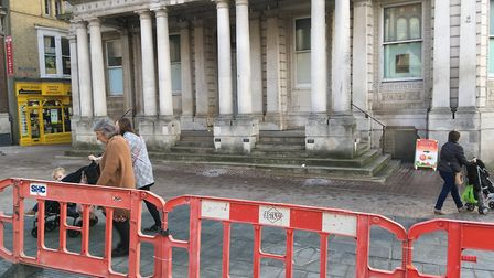 The barrier on Ipswich Cornhill Picture: SUZANNE DAY