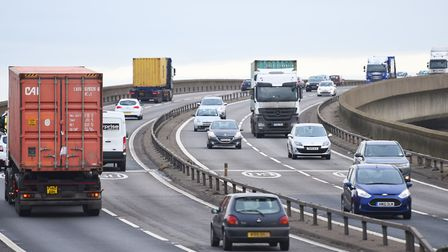 Over three miles of traffic along the A14 and Orwell Bridge have formed after one lane of traffic be
