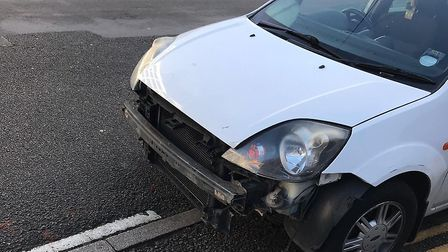 The car with the ripped off bumper that was stopped in Ipswich. Picture: NORFOLK AND SUFFOLK ROADS A