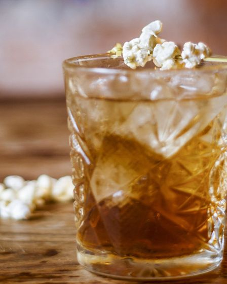 Butter Toffee Old Fashioned made with smoky Woodford Reserve bourbon whisky. Picture: COSY CLUB