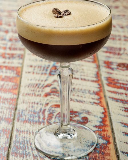 Vanilla Espresso Martini made with Cosy Clubs own cold brew coffee syrup shaken with Smirnoff vanil