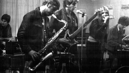 Fleece on stage locally in 1968 with (from the left) Malcolm Studd drums, Pete Jordon saxophone, Ian