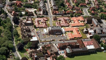 Anglesea Heights Care Home from the air in June 1992. Anglesea Road is at the top of the picture and