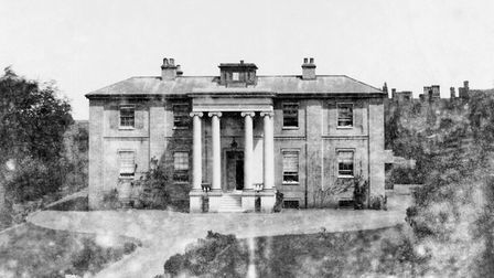 The original Anglesea Road Hospital in a photograph taken in the 1850s, from a building at the top o