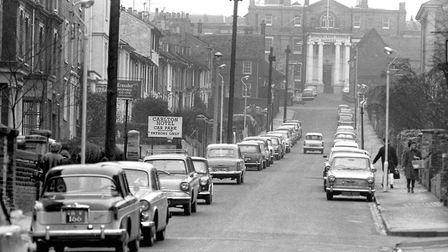 Berners Street, Ipswich, in January 1966, when parking was allowed on both sides of the street. The