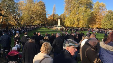 The Armistice Day commemorations in Ipswich. Picture: PAUL GEATER