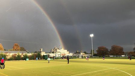 The scene above Ipswich High School in Woolverstone, Ipswich, after a rain shower. Picture: FIONA FO
