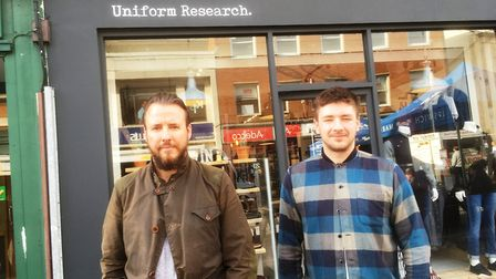 Uniform Research men's boutique in Queen Street, Dan Le Sauvage and James Cole outside the re-brande