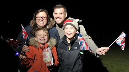 Oscar, Carol, Anthony and Josh Drake at the beacon lighting Picture: SARAH LUCY BROWN