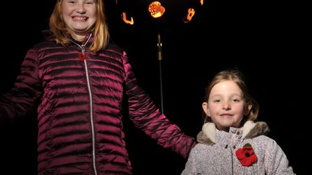 Bookmark competition winners Kara Bassill and Caitlin Garrard lit the beacon Picture: SARAH LUCY B