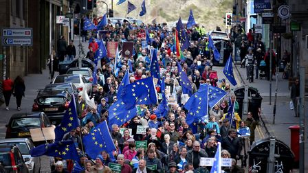 Demonstrators at a Brexit protest Credit: Jane Barlow/ PA