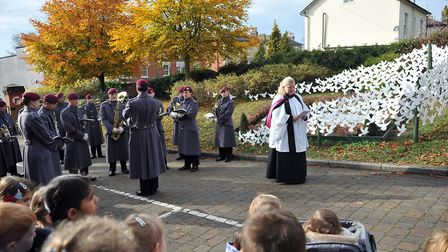 Ipswich Prep School doves were unveiled with the Parachute Regiment Band and Rev Holly Crompton-Batt