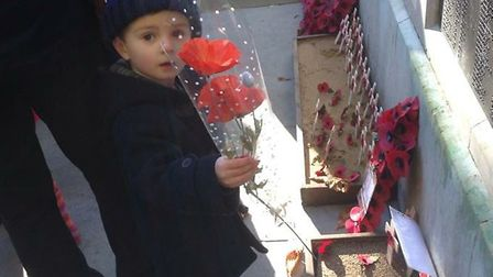Frazer aged three at Christchurch Park Remembrance event in 2013